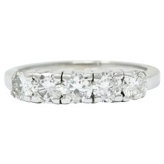 Mid-Century 1.50 CTW Diamond Platinum Five Stone Band Ring
