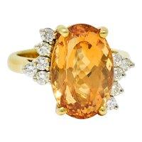 8.54 CTW Topaz Diamond 18 Karat Gold Cocktail Ring