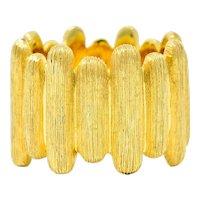 Henry Dunay Vintage 18 Karat Gold Brushed Bar Band Ring
