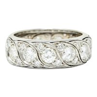 Vintage 3.78 CTW Diamond 14 Karat White Gold Eternity Band Ring