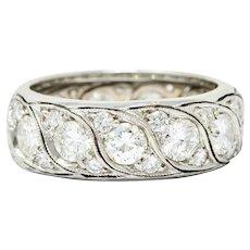 Vintage 3.78 CTW Diamond 14 Karat White Gold Eternity Band Ring