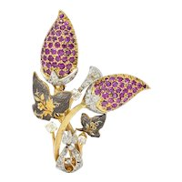 Victorian 6.90 CTW Ruby Diamond Platinum & Silver-Topped 14 Karat Gold Floral Brooch