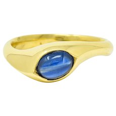 Vintage Sapphire Cabochon 18 Karat Gold Eyelet Band Ring Circa 1990s