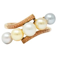 Early Art Deco Cultured Pearl 14 Karat Rose Gold Bypass Ring