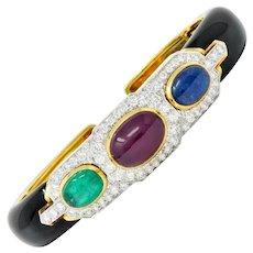 David Webb 10.63 CTW Diamond Ruby Sapphire Emerald Enamel Platinum 18 Karat Gold Bracelet