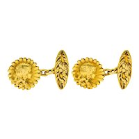 French Art Nouveau 18 Karat Gold Daisy Girl Cufflinks