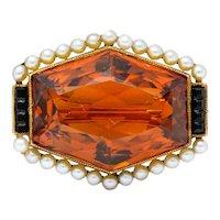 Early Art Deco Citrine Pearl Onyx 14 Karat Gold Hexagonal Brooch