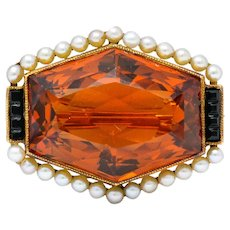 Early Art Deco Citrine Pearl Onyx 14 Karat Gold Hexagonal Brooch
