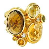 David Yurman Topaz Citrine Multi-Gem 18 Karat Gold Mosaic Cluster Ring
