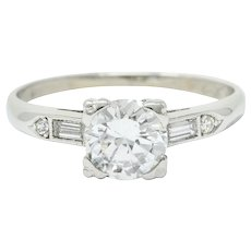Retro 0.85 CTW Diamond Platinum Engagement Ring