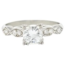 Retro 0.88 CTW Diamond Platinum Engagement Ring