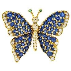 1989 Tiffany & Co. 4.22 CTW Sapphire Diamond Emerald 18 Karat Gold Butterfly Brooch