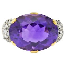 Retro Amethyst Diamond 18 Karat Gold Platinum Cocktail Ring
