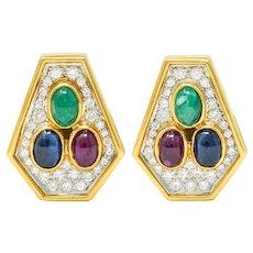 Vintage 4.97 CTW Diamond Sapphire Ruby Emerald 18 Karat Two-Tone Gold Ear-Clip Earrings
