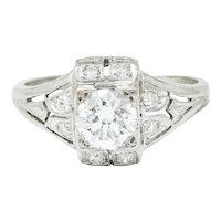 Art Deco 0.85 CTW Diamond Platinum Dinner Engagement Ring