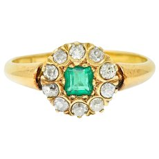 Victorian 0.70 CTW Emerald Diamond 18 Karat Gold Cluster Ring