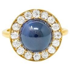 Vintage 6.09 CTW No Heat Australian Sapphire Diamond 18 Karat Gold Cabochon Cluster Ring GIA