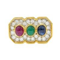 Vintage Diamond Sapphire Ruby Emerald 18 Karat Two-Tone Gold Ring