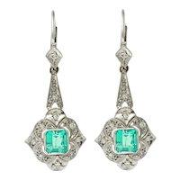 Art Deco 2.34 CTW Emerald Diamond Platinum Drop Earrings