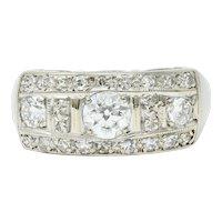 Art Deco 0.85 CTW Diamond 14 Karat White Gold Band Ring