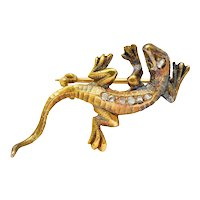 1880's Victorian Rose Cut Diamond 18 Karat Gold Lizard Brooch