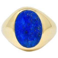 1950's Larter & Sons Lapis Lazuli 14 Karat Gold Men's Signet Ring