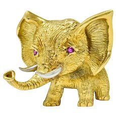 Vintage Ruby 18 Karat Two-Tone Gold Elephant Brooch