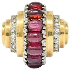 Art Deco Diamond Garnet 14 Karat Two-Tone Gold Stepped Ring
