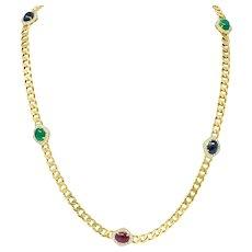 1980's Vintage Sapphire Emerald Ruby Diamond 18 Karat Gold Station Necklace