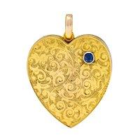 Large Victorian Sapphire 9 Karat Gold Heart Locket Circa 1900