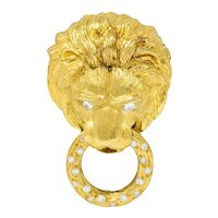 Van Cleef & Arpels Diamond 18 Karat Gold Lion Doorknocker Brooch