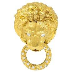 Van Cleef & Arpels Diamond 18 Karat Gold Lion Doorknocker Brooch