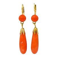 Vintage Coral 14 Karat Gold Drop Earrings