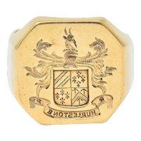Victorian 14 Karat Gold Men's Heraldry Signet Ring