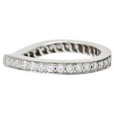 Modern 1.00 CTW Diamond Platinum Chevron Eternity Band Ring