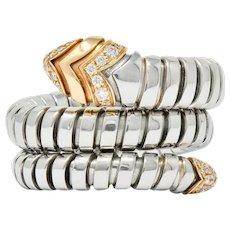 Bulgari Diamond 18 Karat Rose Gold Steel Tubogas Serpenti Ring