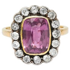 Victorian 4.65 CTW Pink Sapphire Diamond Silver-Topped 14 Karat Gold Cluster Ring GIA