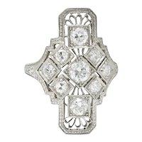 Art Deco 1.05 CTW Diamond Platinum Dinner Ring Circa 1930s