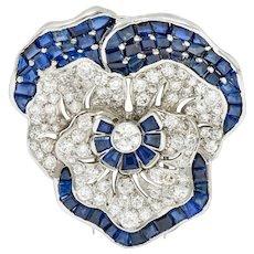 Art Deco 11.62 CTW Sapphire Diamond Platinum Pansy Flower Brooch Attributed to Oscar Heyman
