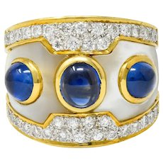 Vintage Mother-Of-Pearl 3.75 CTW Sapphire Diamond 18 Karat Gold Band Ring