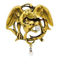 French Art Nouveau Diamond Pearl 18 Karat Gold Griffin Brooch