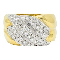 Leo Pizzo Vintage Italian Diamond 18 Karat Two-Tone Gold Band Ring