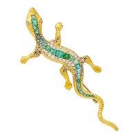 Large Victorian 3.36 CTW Emerald Diamond 18 Karat Gold Lizard Brooch