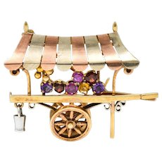 Retro Multi-Gem 9 Karat Tri-Colored Gold Flower Cart Brooch