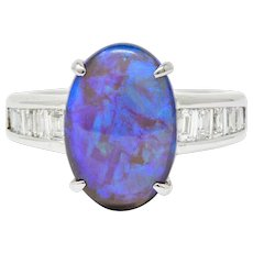 Contemporary Opal 1.27 CTW Diamond Platinum Gemstone Ring