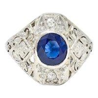 Art Deco 1.45 CTW Sapphire Diamond Platinum-Topped 18 Karat White Gold Dinner Ring