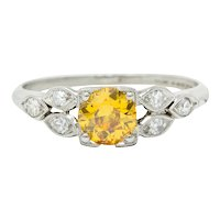 Retro 0.60 CTW Yellow & White Diamond Platinum Engagement Ring GIA