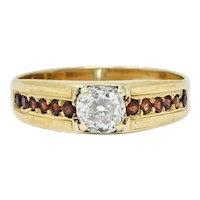 Retro Garnet 0.51 CTW Diamond 14 Karat Gold Unisex Ring