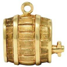 Vintage Italian 18 Karat Gold Barrel Keg Charm