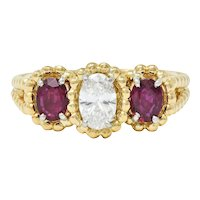 Oscar Heyman 1.07 CTW Diamond Ruby 18 Karat Gold Platinum Three Stone Ring